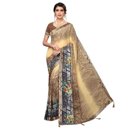 Unique Beige Colored Casual Wear Printed Georgette Saree