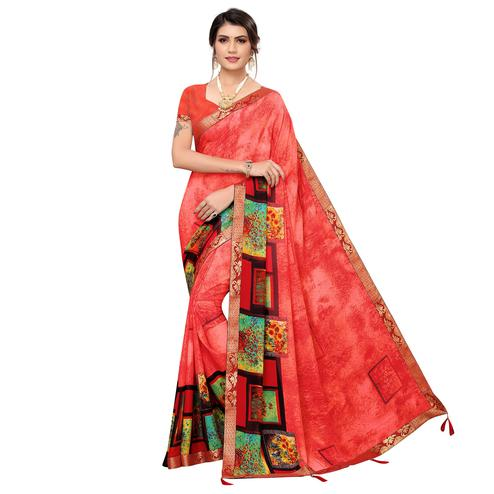 Demanding Coral Red Colored Casual Wear Printed Georgette Saree