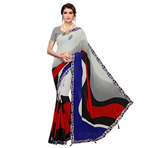 Refreshing Grey Colored Casual Wear Printed Georgette Saree