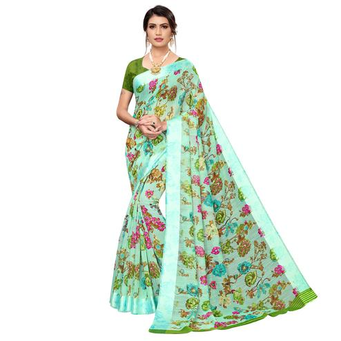Groovy Aqua Green Colored Casual Wear Printed Satin Silk Saree