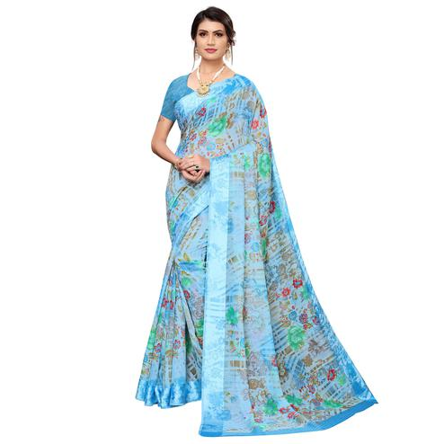 Adorning Blue Colored Casual Wear Printed Satin Silk Saree