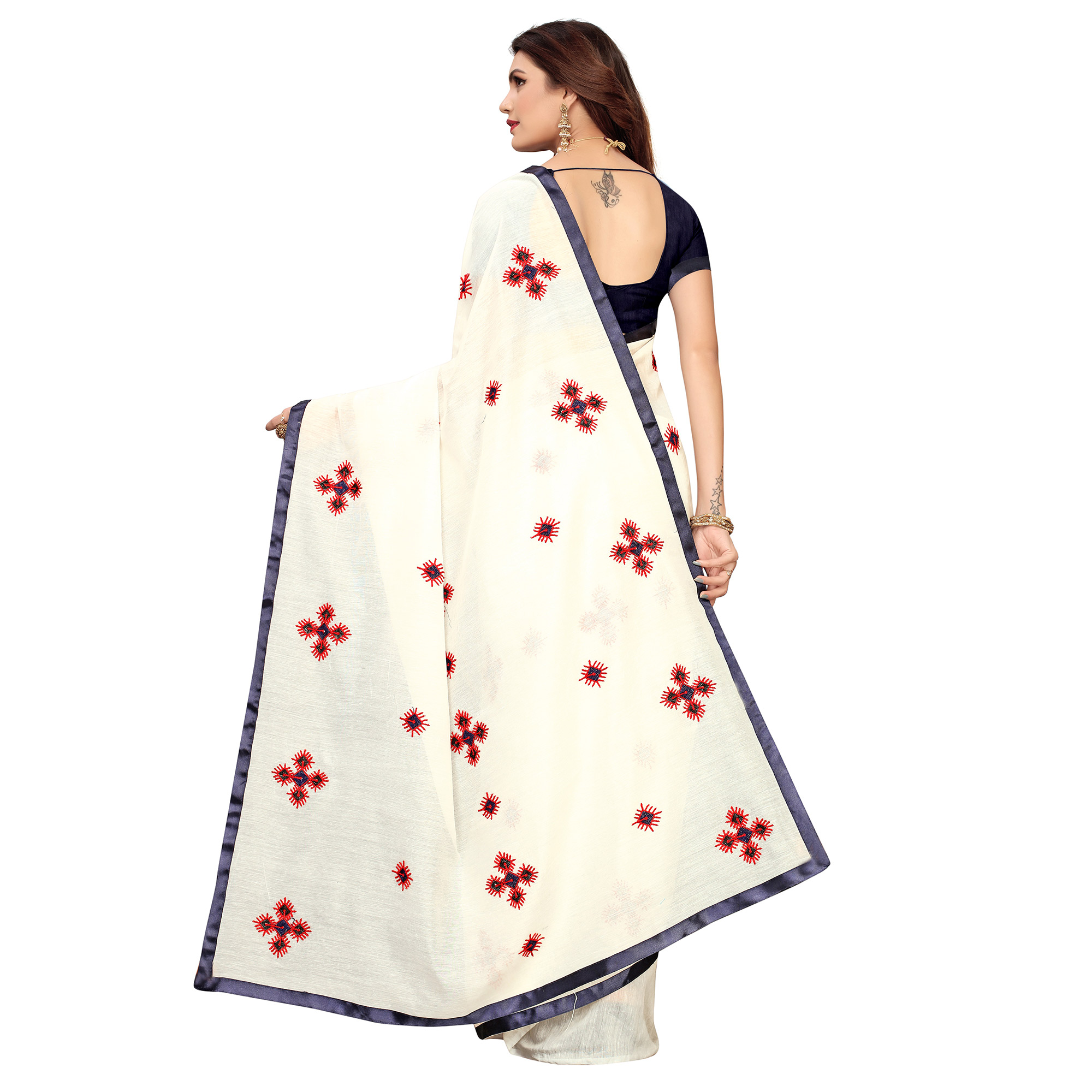 Graceful White & Navy Blue Colored Party Wear Embroidered Chanderi Saree