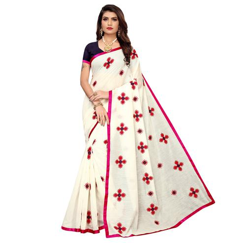 Blooming White - Pink Colored Party Wear Embroidered Chanderi Saree