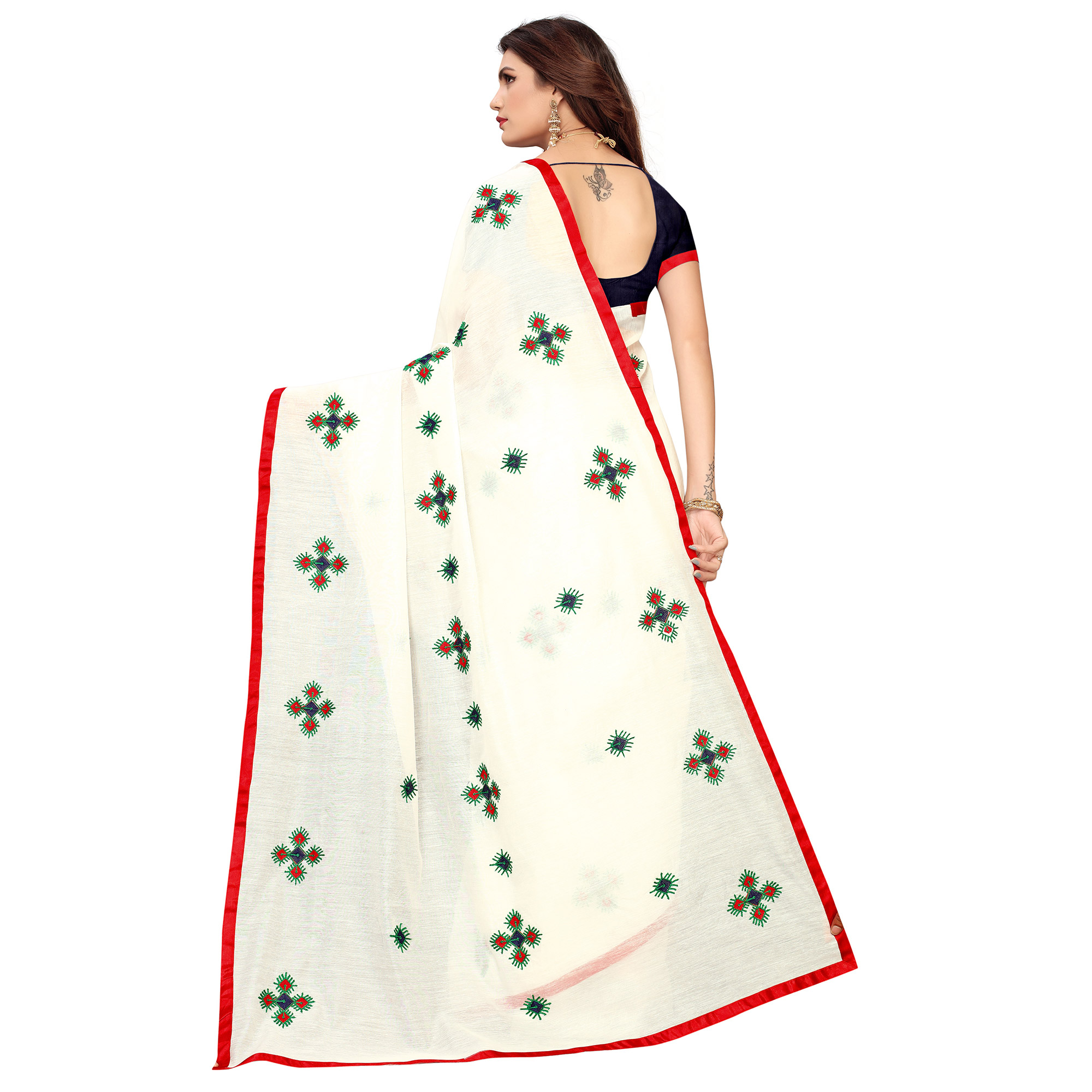 Charming White - Red Colored Party Wear Embroidered Chanderi Saree