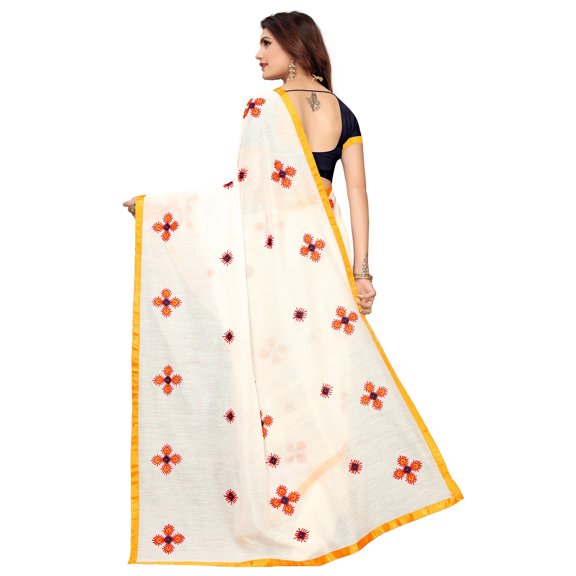 Jazzy White - Yellow Colored Party Wear Embroidered Chanderi Saree