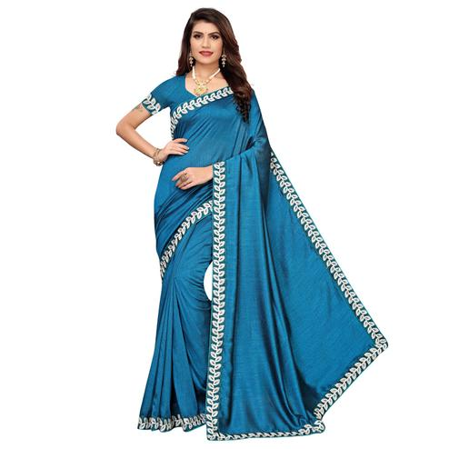 Delightful Rama Blue Colored Party Wear Embroidered Art Silk Saree