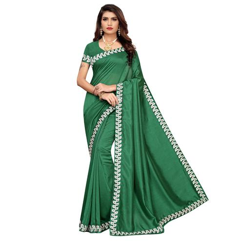 Engrossing Green Colored Party Wear Embroidered Art Silk Saree