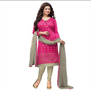 Pink Chanderi Embroidered Salwar Suit