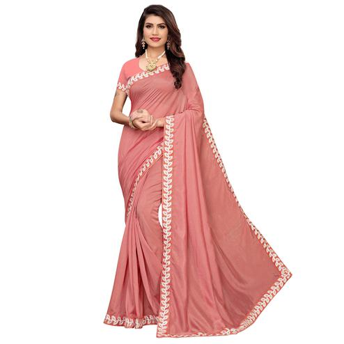 Captivating Mauve Colored Party Wear Embroidered Art Silk Saree