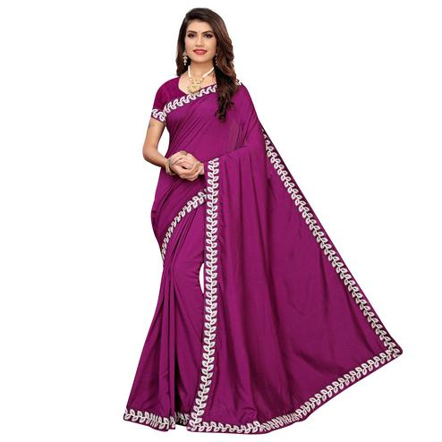 Innovative Dark Magenta Pink Colored Party Wear Embroidered Art Silk Saree
