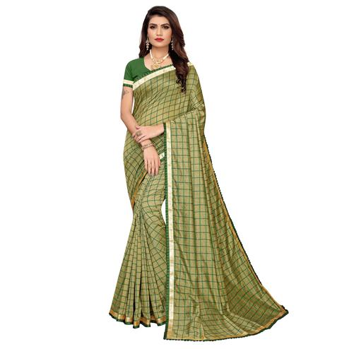 Fantastic Olive Green Colored Colored Casual Wear Printed Art Silk Saree