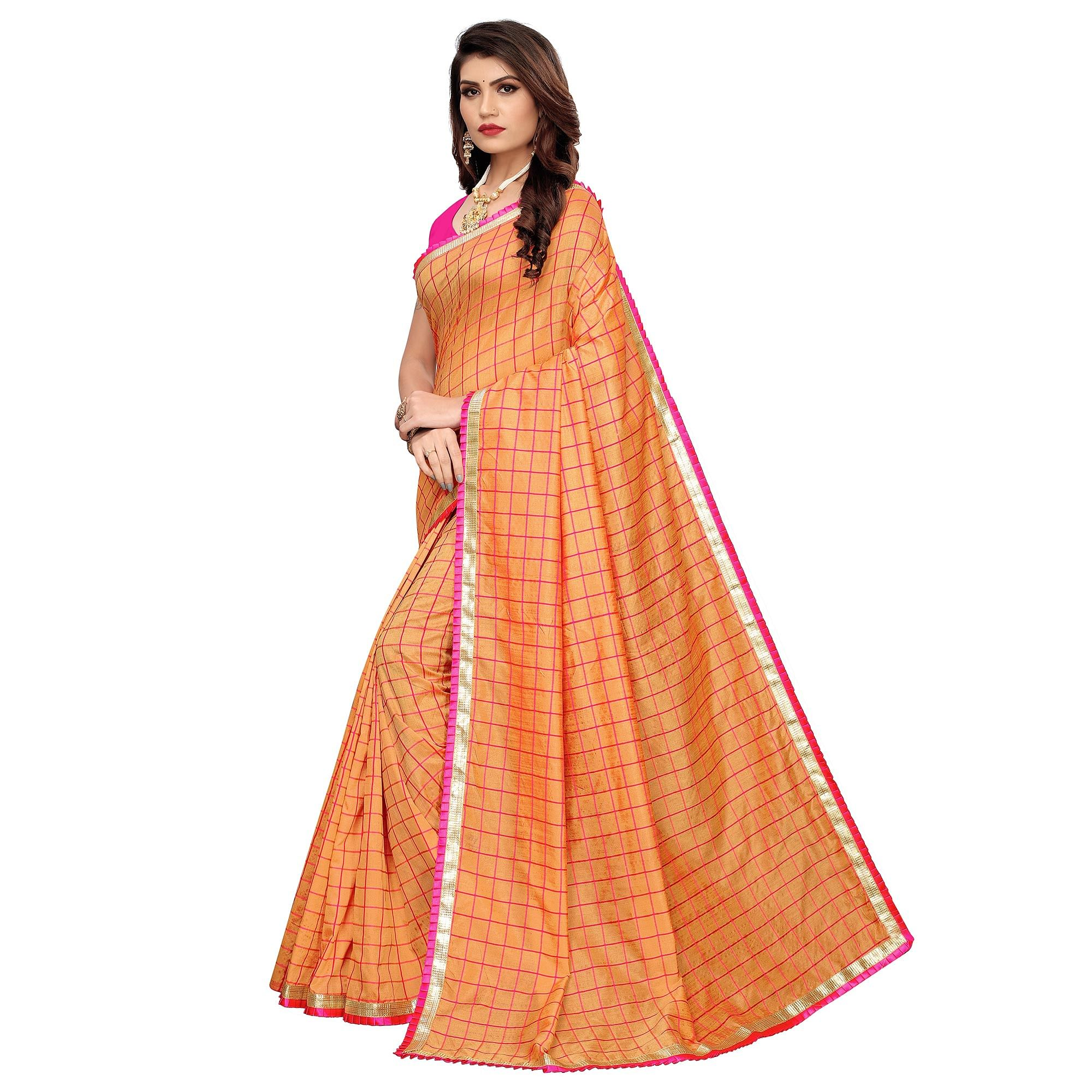 Amazing Peach Colored Colored Casual Wear Printed Art Silk Saree