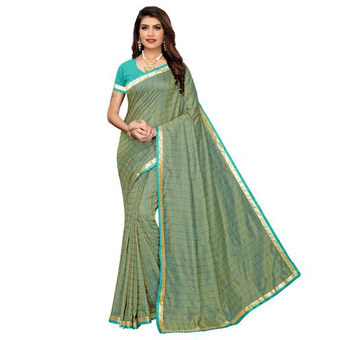 Gorgeous Greyish Green Colored Casual Wear Printed Art Silk Saree