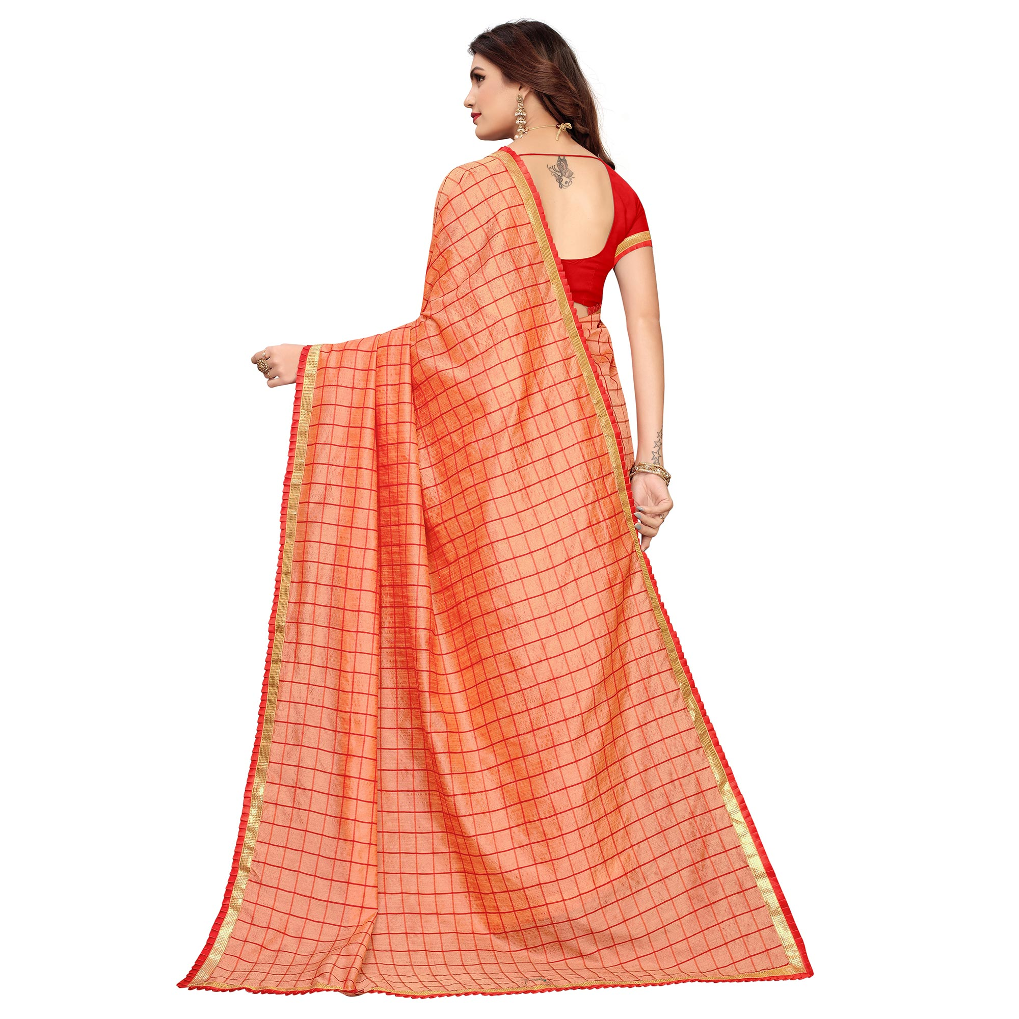 Blissful Coral Red Colored Casual Wear Printed Art Silk Saree