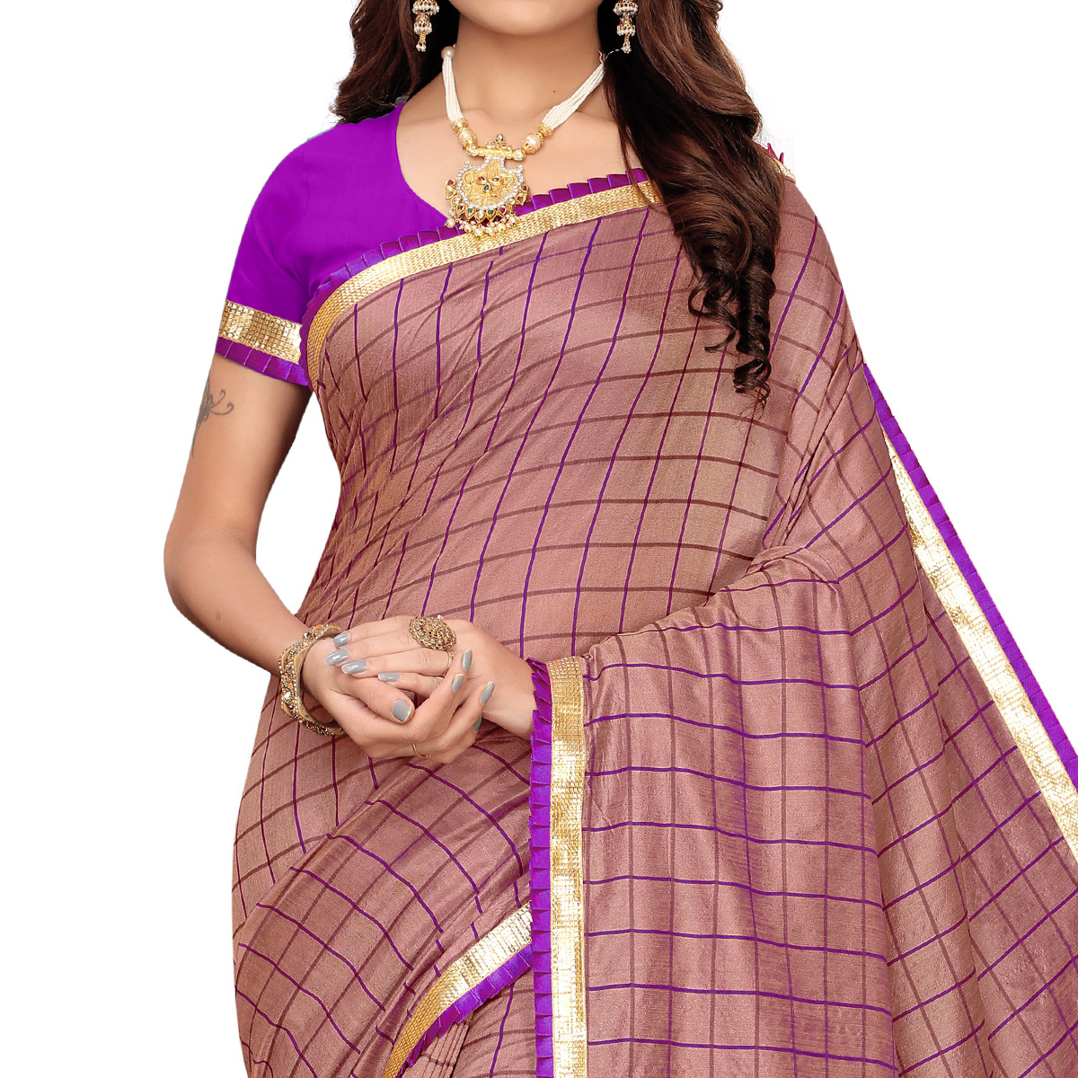 Ideal Mauve Colored Colored Casual Wear Printed Art Silk Saree