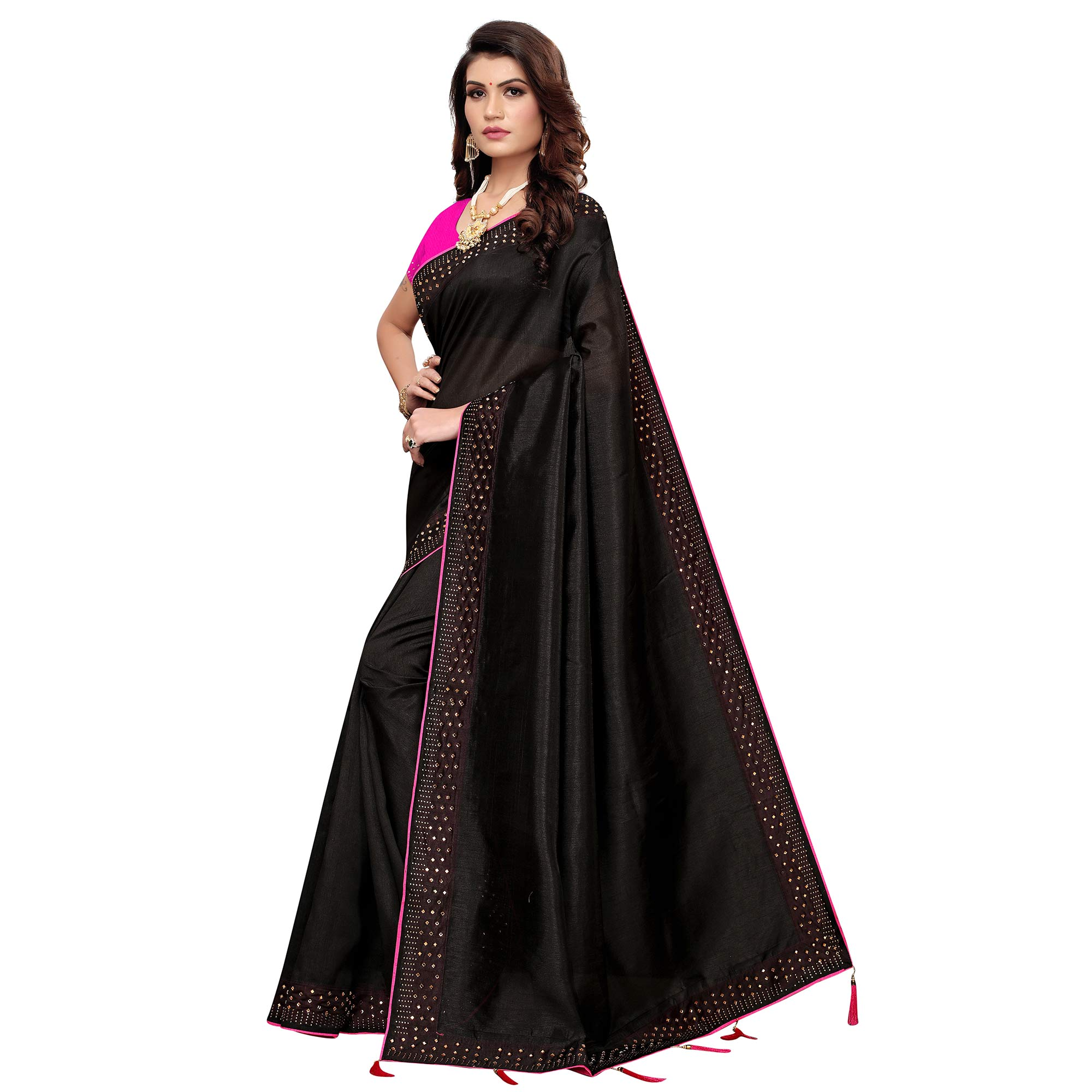 Adorable Black Colored Partywear Zoya Silk Saree