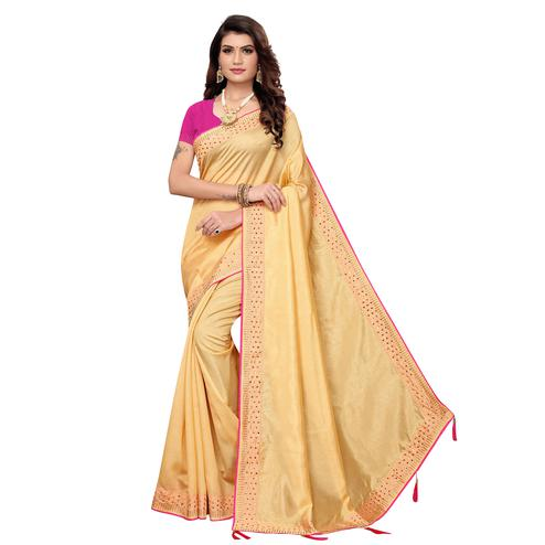 Glorious Chiku Colored Partywear Zoya Silk Saree