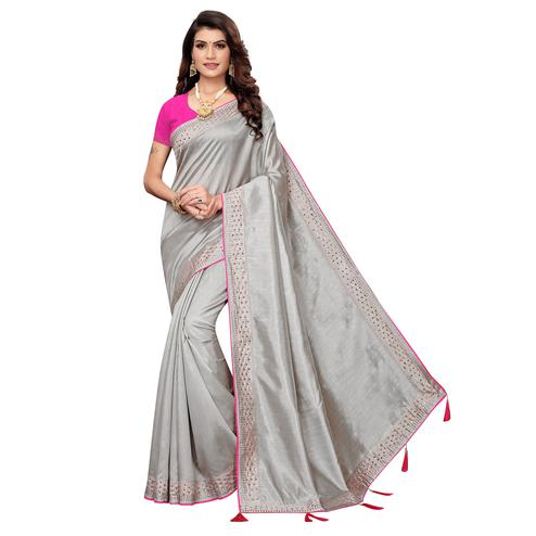 Attractive Grey Colored Partywear Zoya Silk Saree