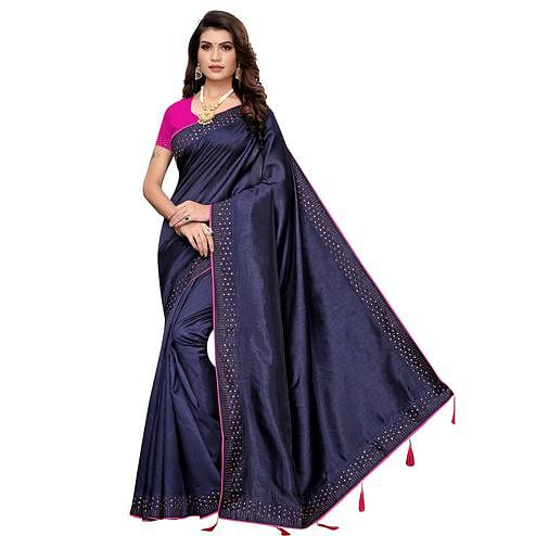 Beautiful Navy Blue Colored Partywear Zoya Silk Saree