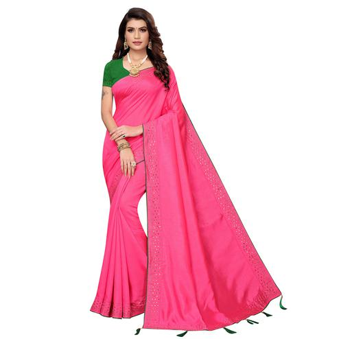 Graceful Pink Colored Partywear Zoya Silk Saree