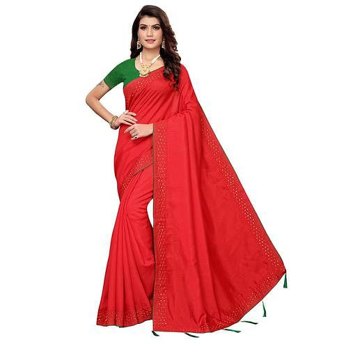 Charming Red Colored Partywear Zoya Silk Saree