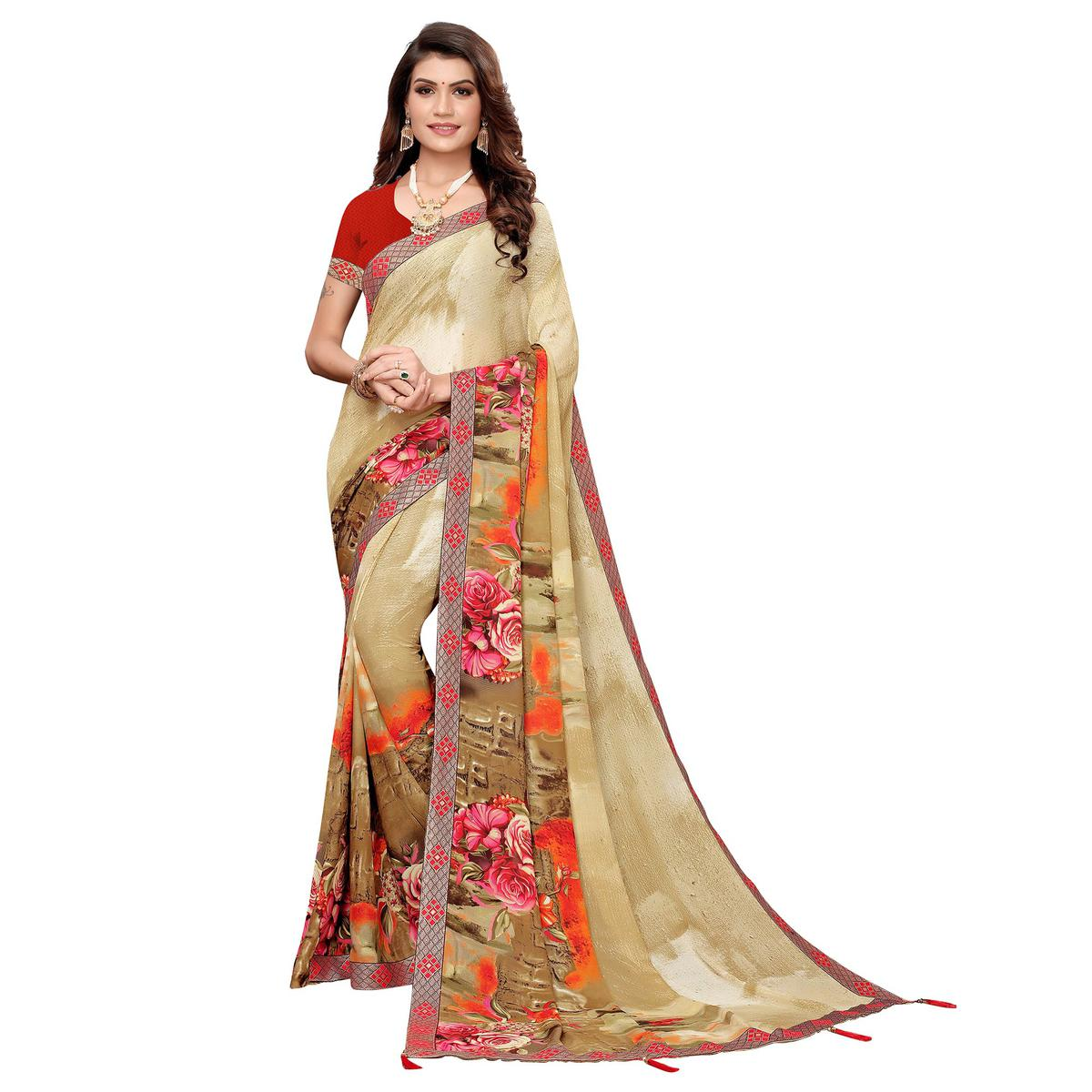 Ideal Chiku Colored Casual Printed Georgette Saree