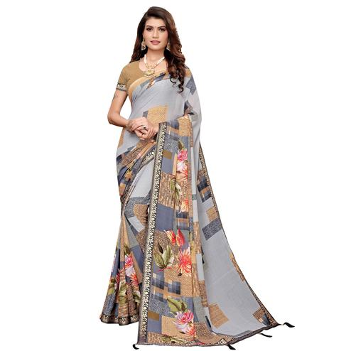 Imposing Grey Colored Casual Printed Georgette Saree