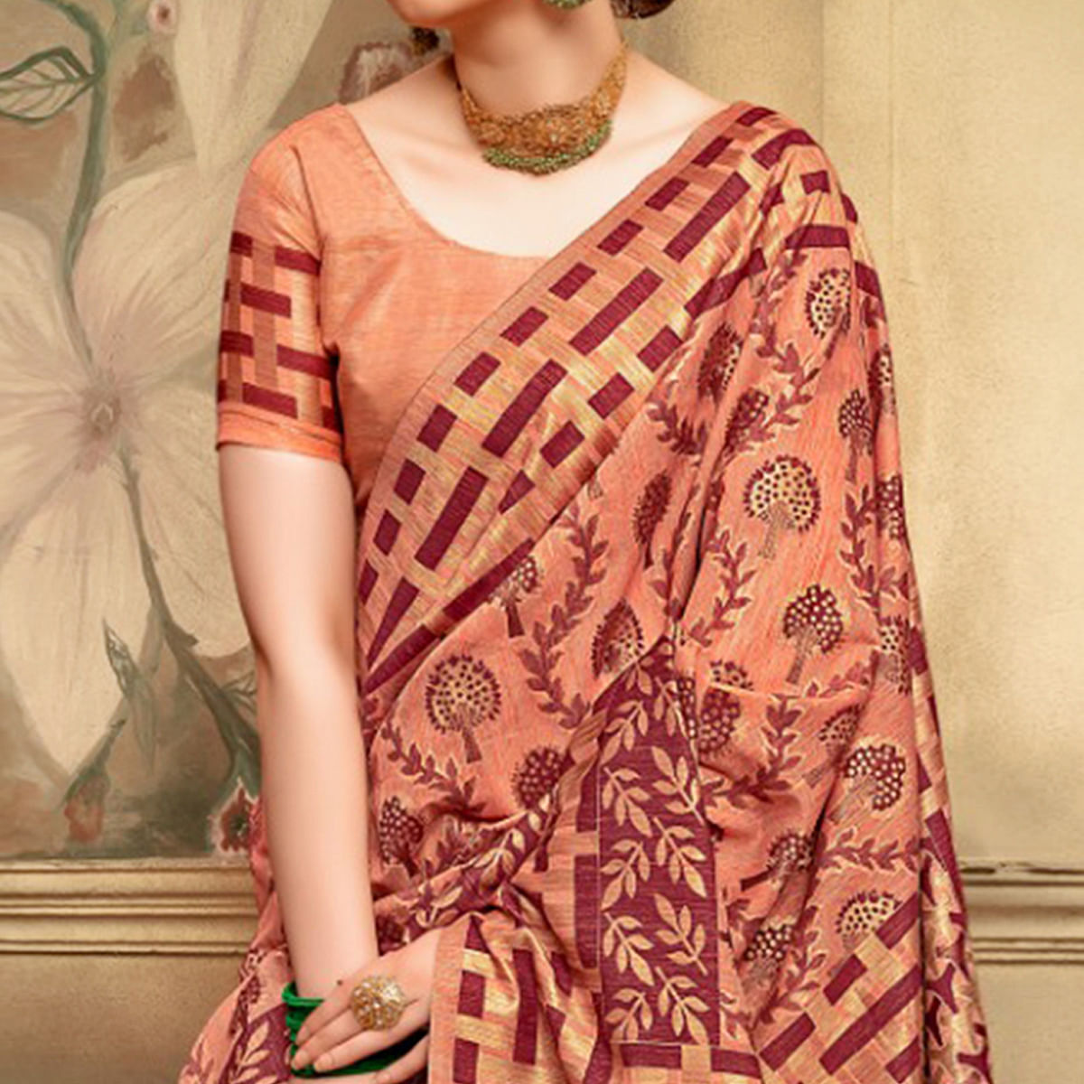 Glorious Peach Colored Festive Wear Woven Cotton Silk Saree