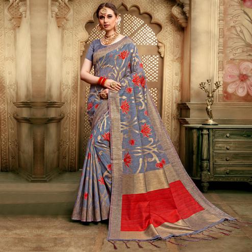 Graceful Grey Colored Festive Wear Woven Cotton Silk Saree