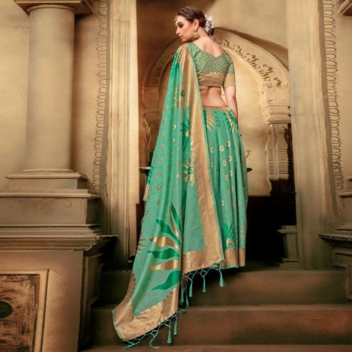 Charming Green Colored Festive Wear Woven Cotton Silk Saree