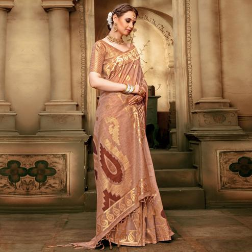 Jazzy Beige Colored Festive Wear Woven Cotton Silk Saree