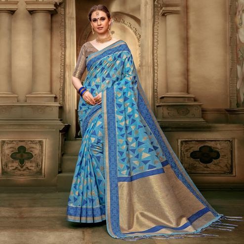 Delightful Sky blue Colored Festive Wear Woven Cotton Silk Saree