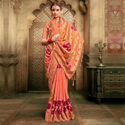 Engrossing Peach Colored Festive Wear Woven Cotton Silk Saree
