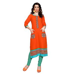 Orange U Neck Kurti with Pocket