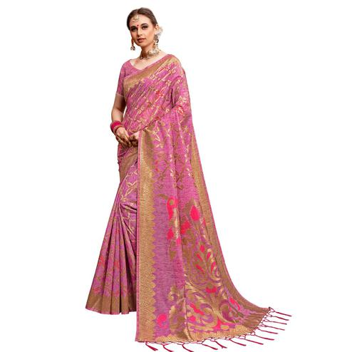 Captivating Pink Colored Festive Wear Woven Cotton Silk Saree