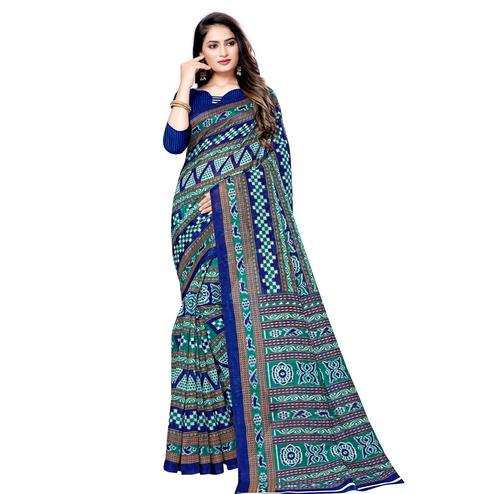 Amazing Blue Colored Casual Wear Printed Bhagalpuri Silk Saree