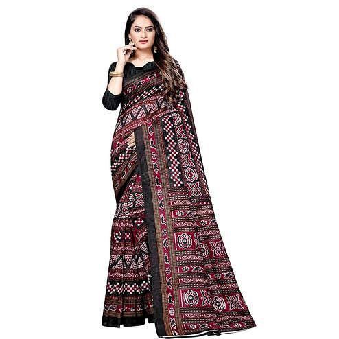 Gorgeous Multicolor Colored Casual Wear Printed Bhagalpuri Silk Saree