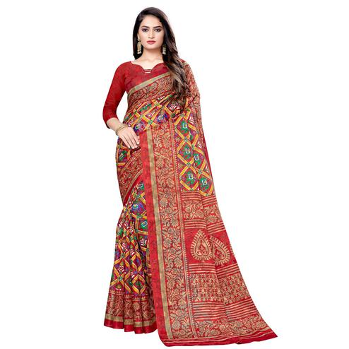 Ideal Red Colored Casual Wear Printed Brasso Saree