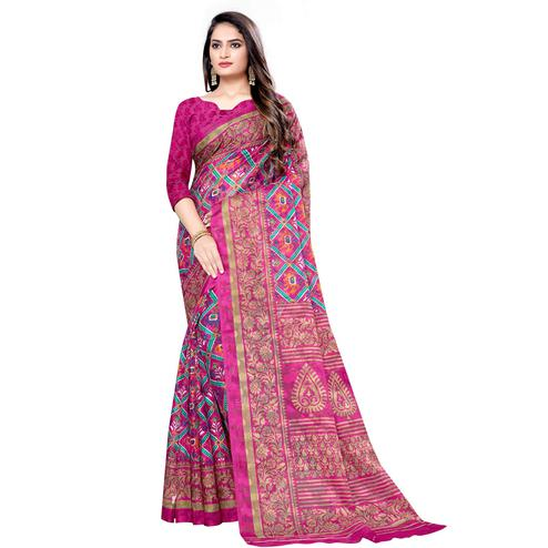 Lovely Pink Colored Casual Wear Printed Brasso Saree