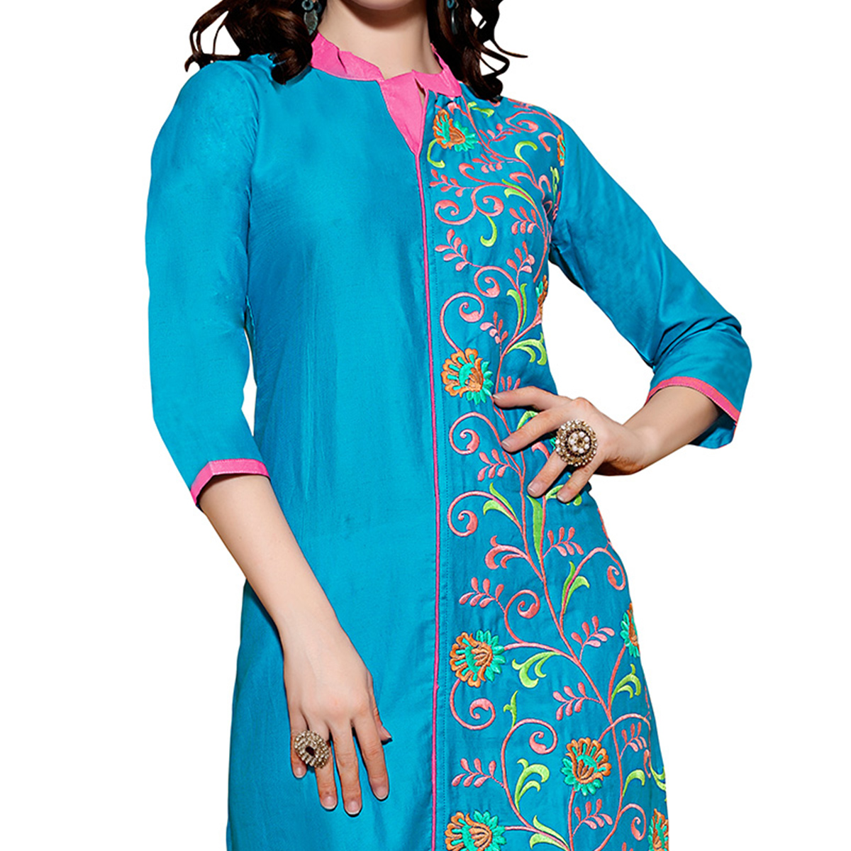 Blue Kurti with Heavy Embroidered Work