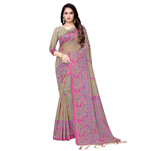 Majesty Beige Colored Casual Wear Printed Cotton Saree