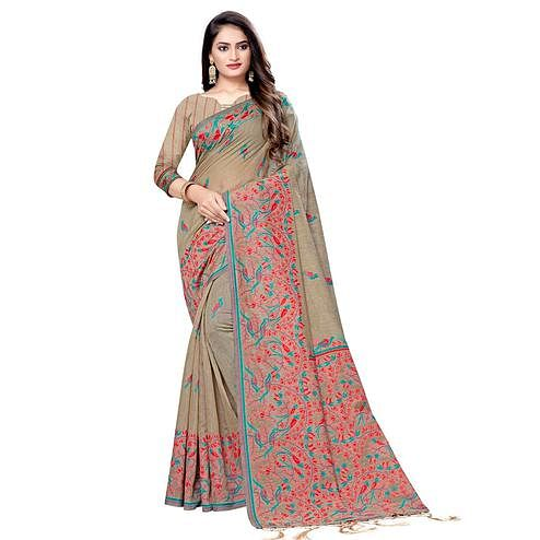 Impressive Beige Colored Casual Wear Printed Cotton Saree