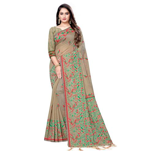 Pleasance Beige Colored Casual Wear Printed Cotton Saree