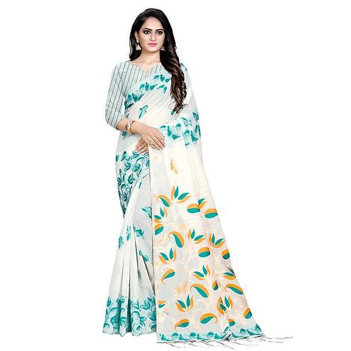 Breathtaking Offwhite Colored Casual Wear Printed Cotton Saree