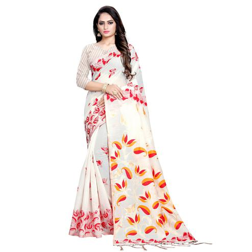 Ethnic Offwhite Colored Casual Wear Printed Cotton Saree