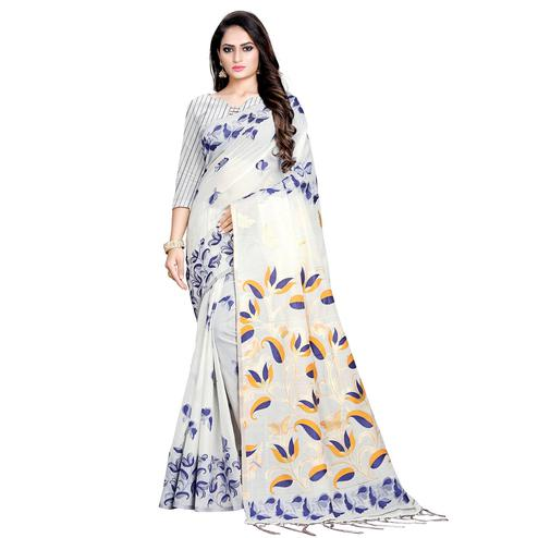 Ravishing Offwhite Colored Casual Wear Printed Cotton Saree