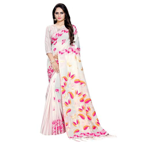 Staring Offwhite Colored Casual Wear Printed Cotton Saree