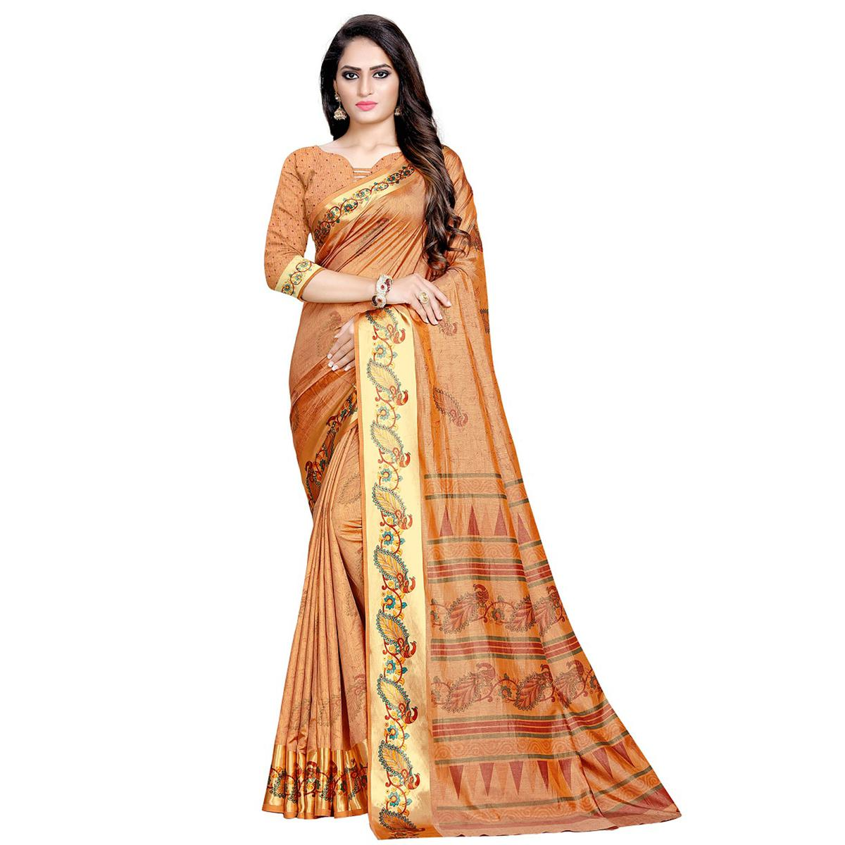 Dazzling Brown Colored Festive Wear Art Silk Saree
