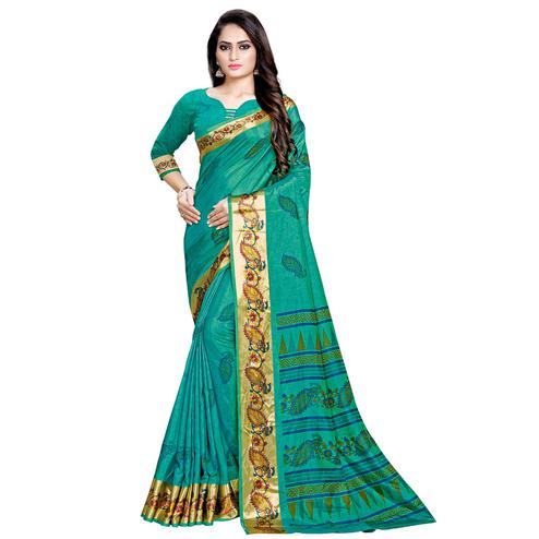Surpassing Green Colored Festive Wear Art Silk Saree