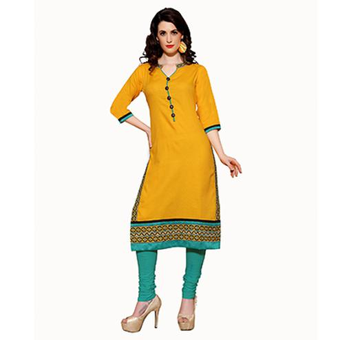 Yellow Long Kurti with Thread Embroidery